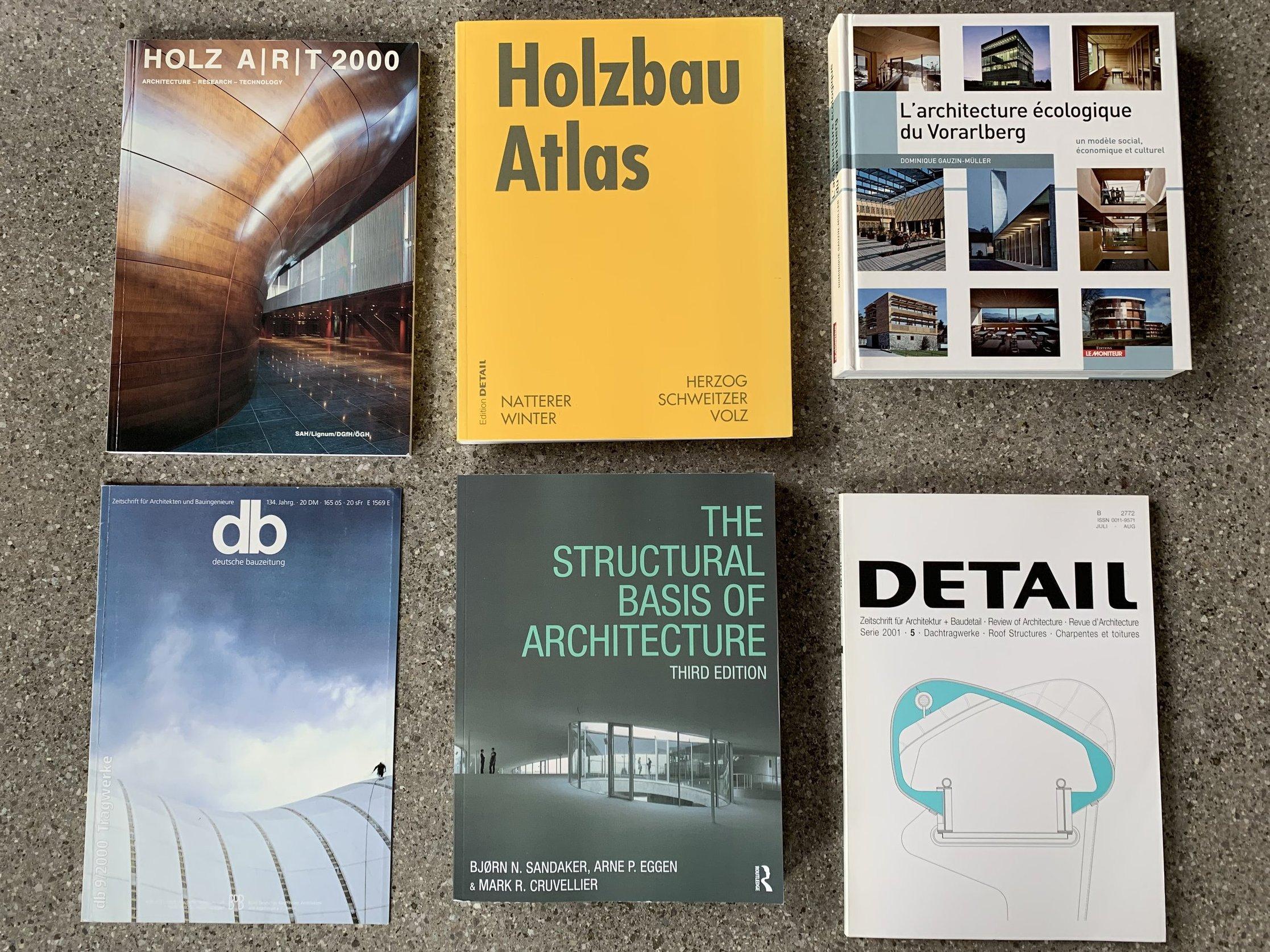 db deutsche bauzeitung 9/2000, Detail 5/2001 (D), HOLZ A/R/T, April 2000 (CH), Holzbau Atlas, Edition Detail 2003, L´architecture écologique du Vorarlberg , 2009, The structural basis of architecture, 2011 (GB/USA)