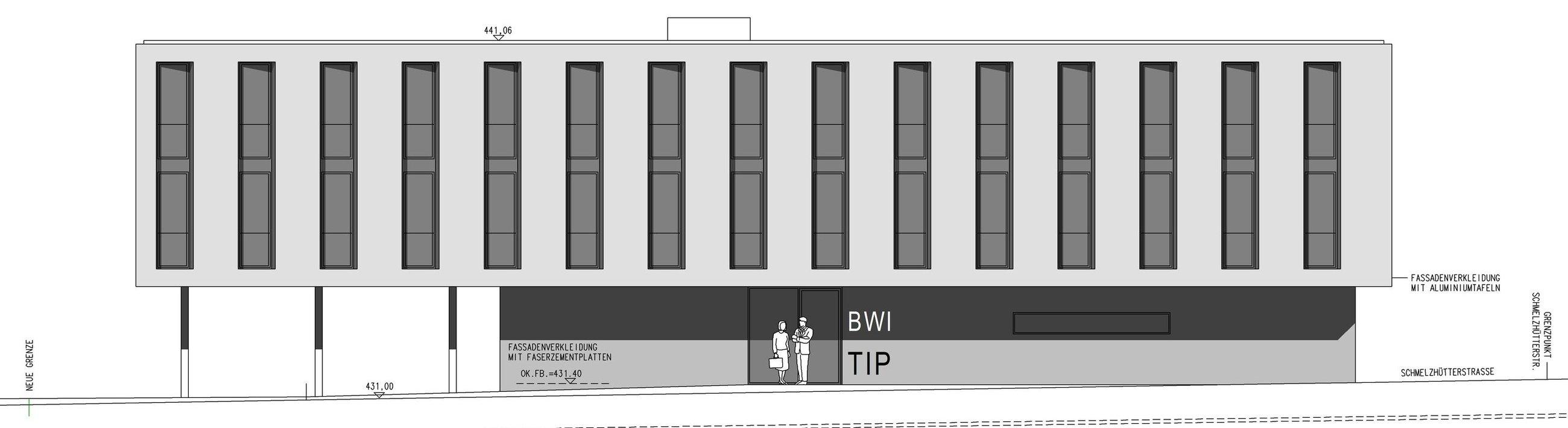 Ansicht Verlängerung, Bürogebäude TIP, Dornbirn drexelarchitekten