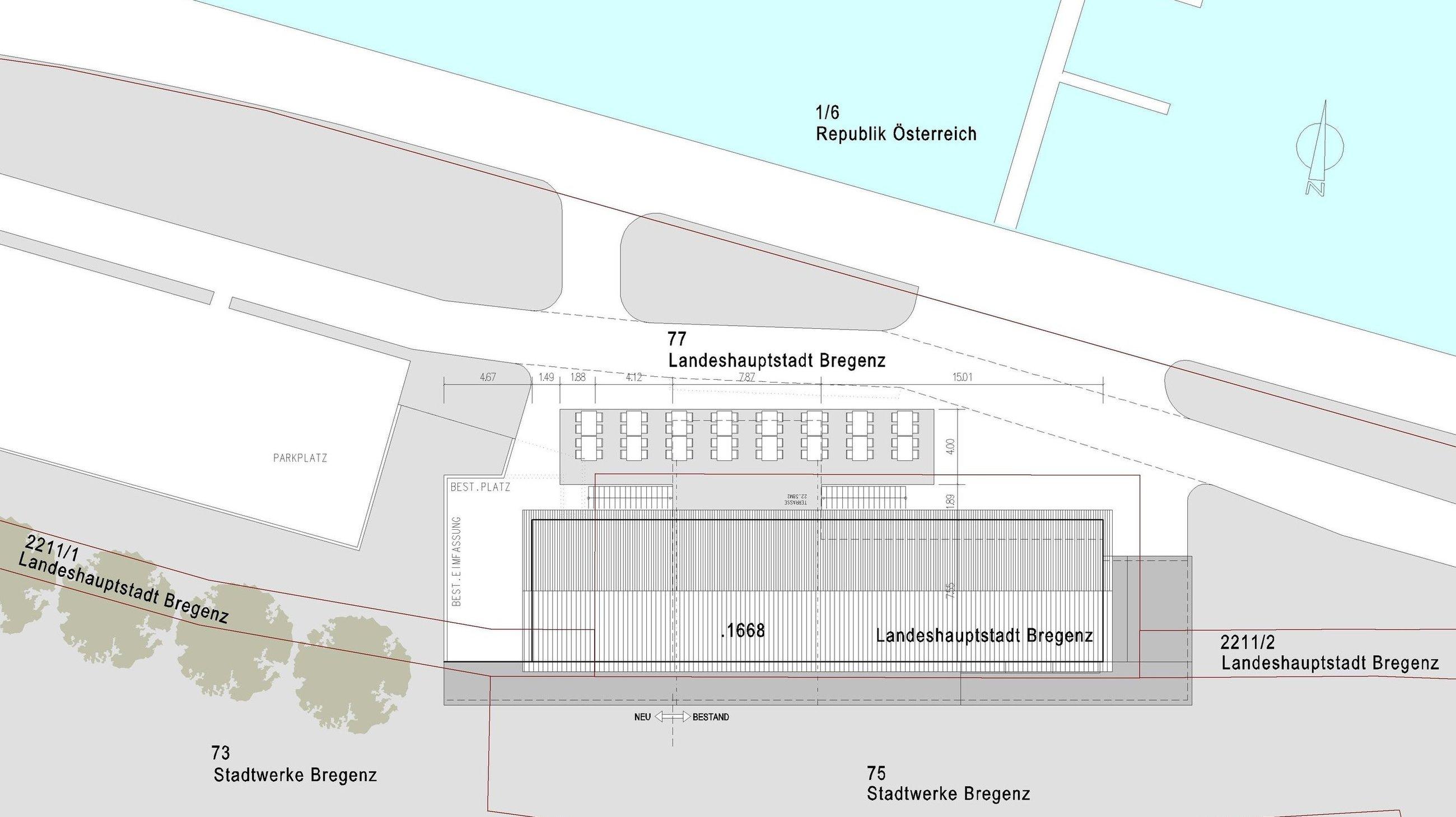 Lageplan, Segelclub Bregenz  drexelarchitekten